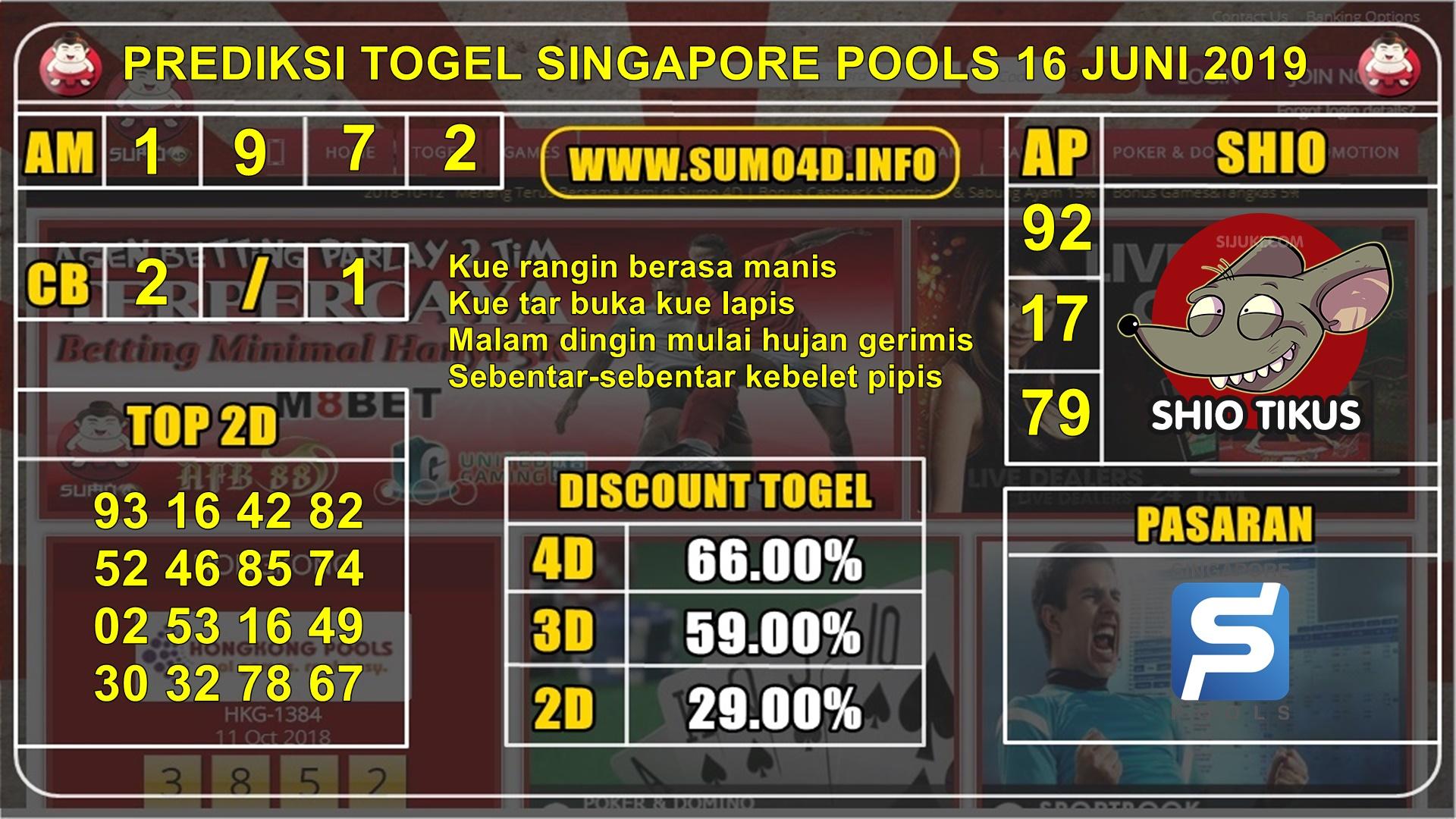 BOCORAN JITU SINGAPORE POOLS 16 JUNI 2019