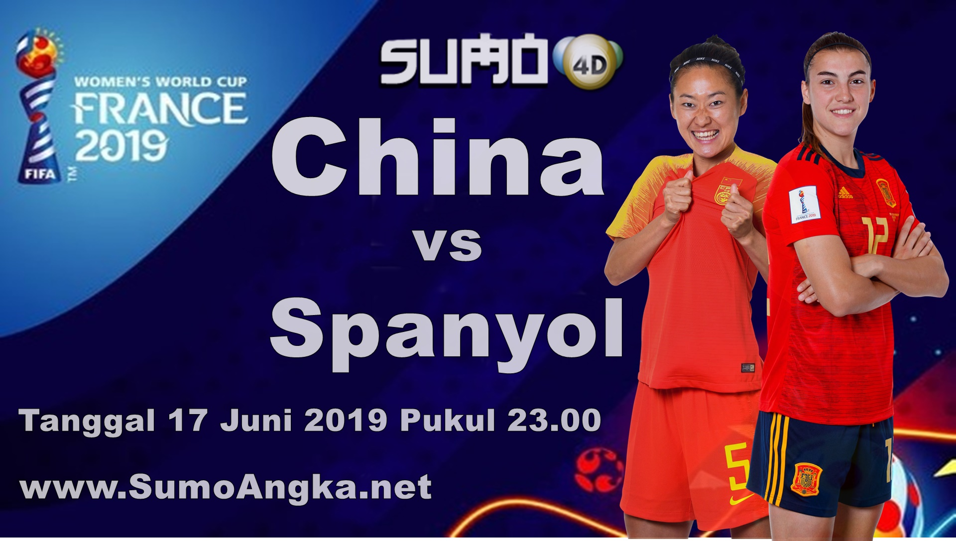 China vs Spanyol 17 Juni 2019 Women World Cup