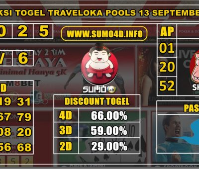PREDIKSI TOGEL TRAVELOKA POOLS 13 SEPTEMBER 2019
