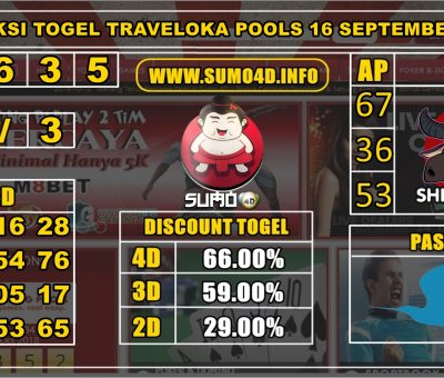 PREDIKSI TOGEL TRAVELOKA POOLS 16 SEPTEMBER 2019