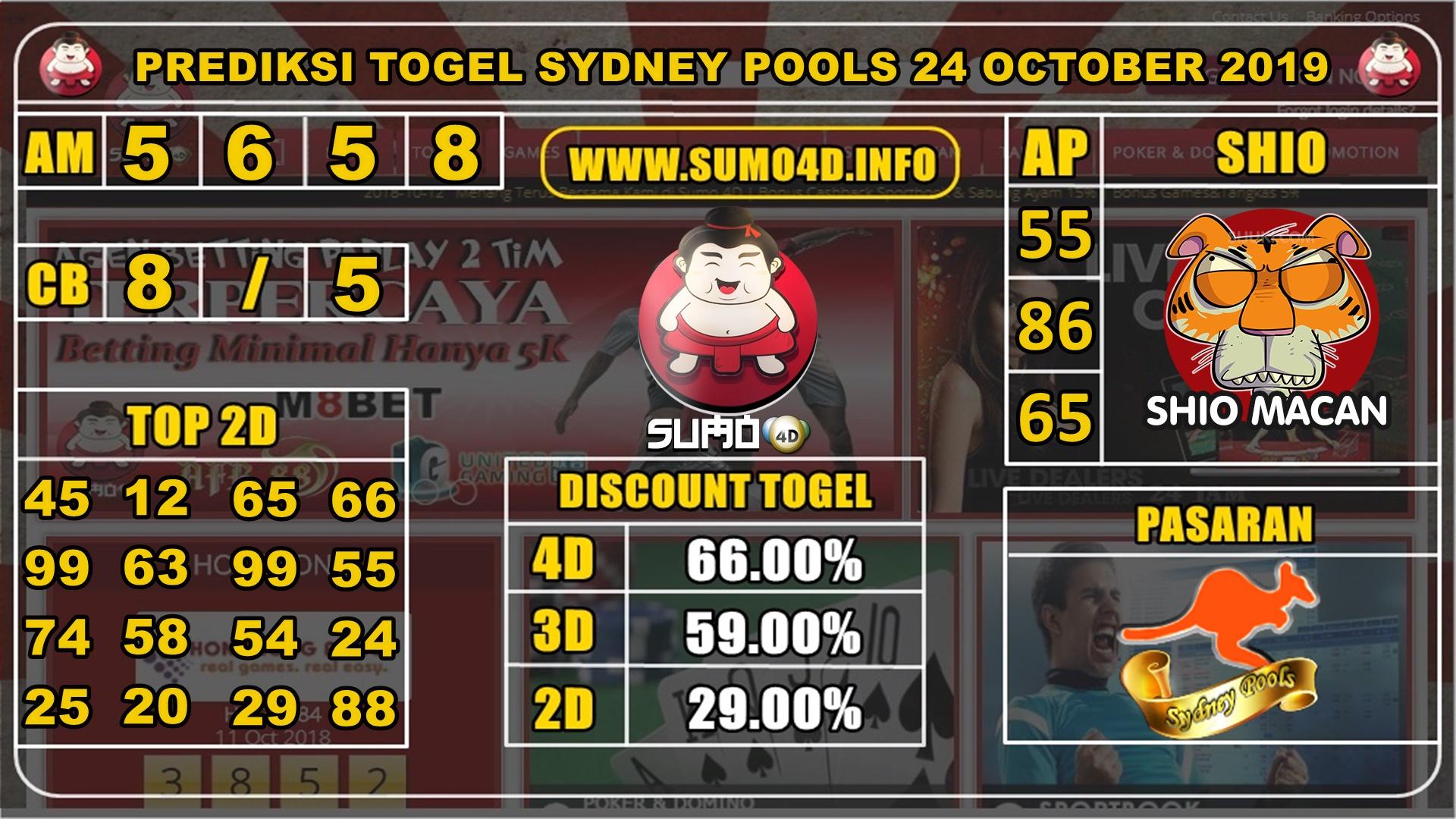 Prediksi Togel Sydney Pools 24 Oktober 2019