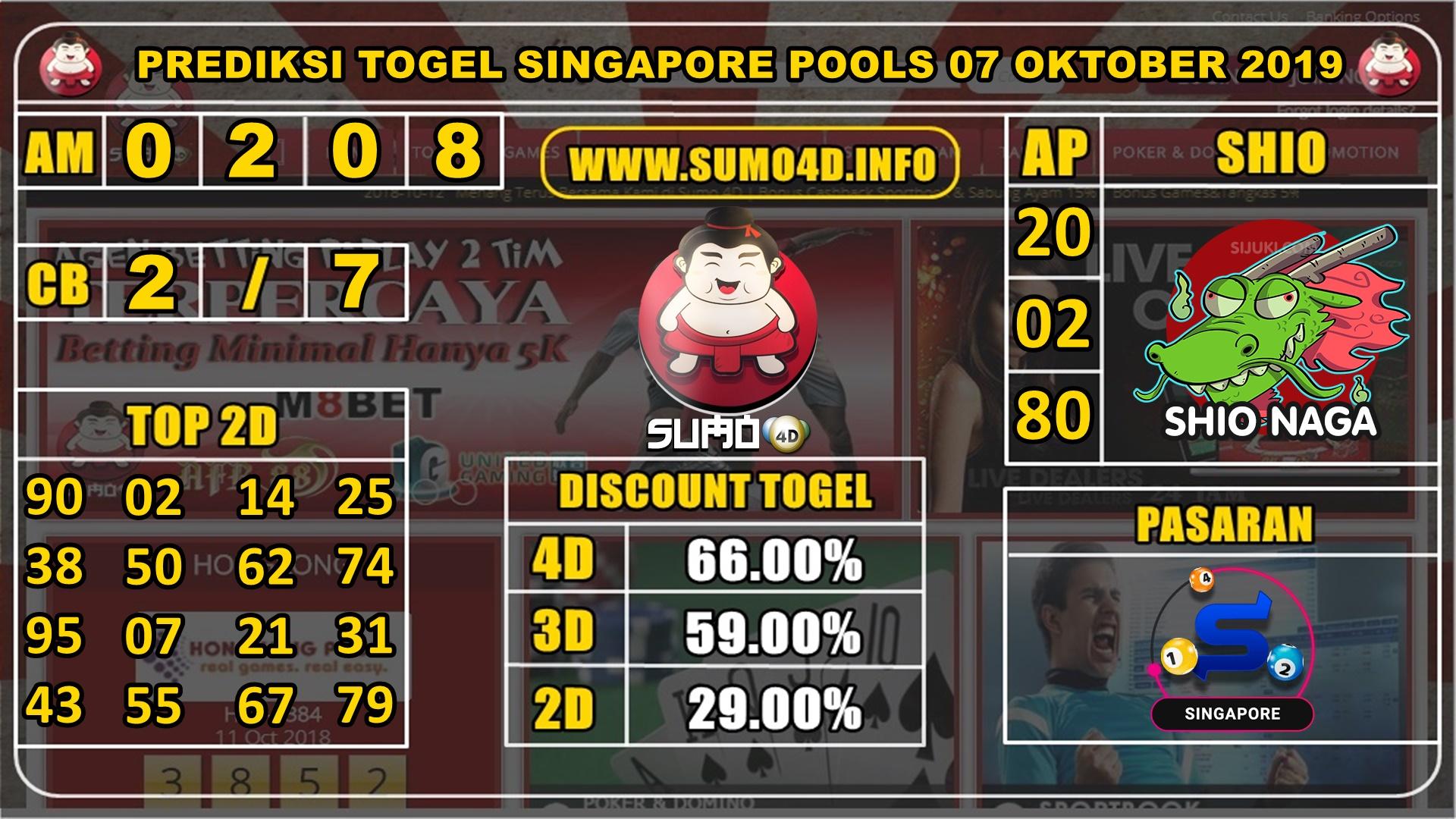 PREDIKSI TOGEL SINGAPORE POOLS 07 OKTOBER 2019