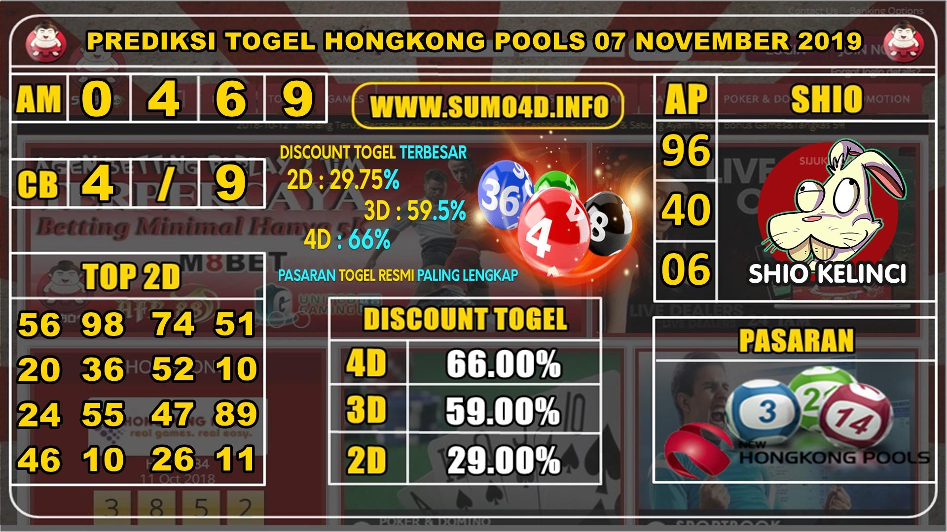 PREDIKSI TOGEL HONGKONG POOLS 07 NOVEMBER 2019