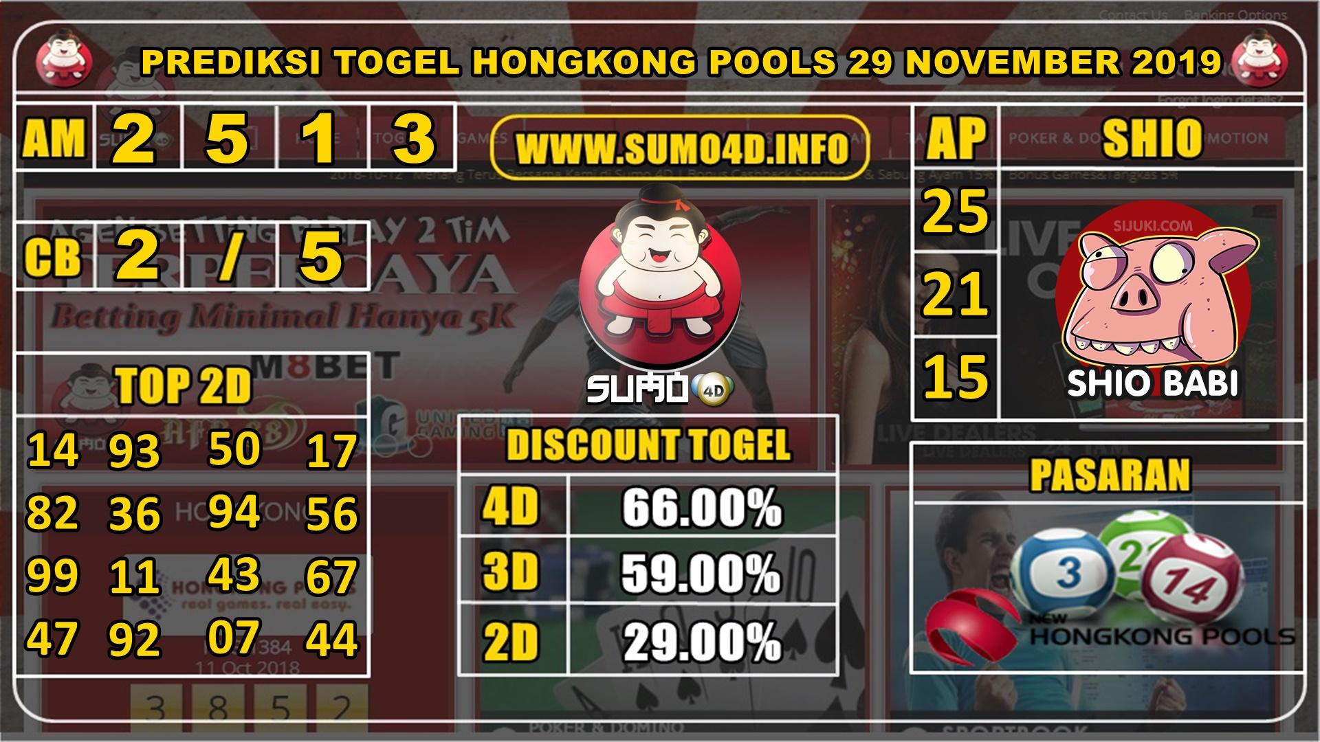 PREDIKSI TOGEL HONGKONG POOLS 29 NOVEMBER 2019
