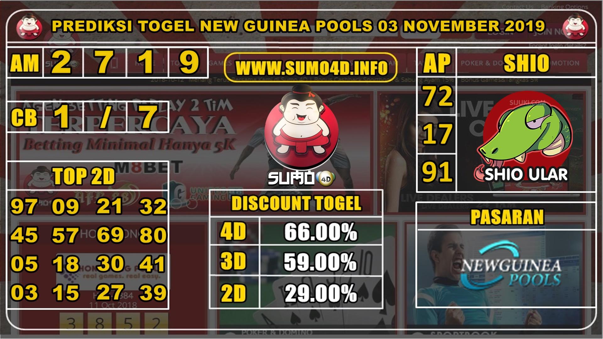 PREDIKSI TOGEL NEW GUINEA POOLS 03 NOVEMBER 2019