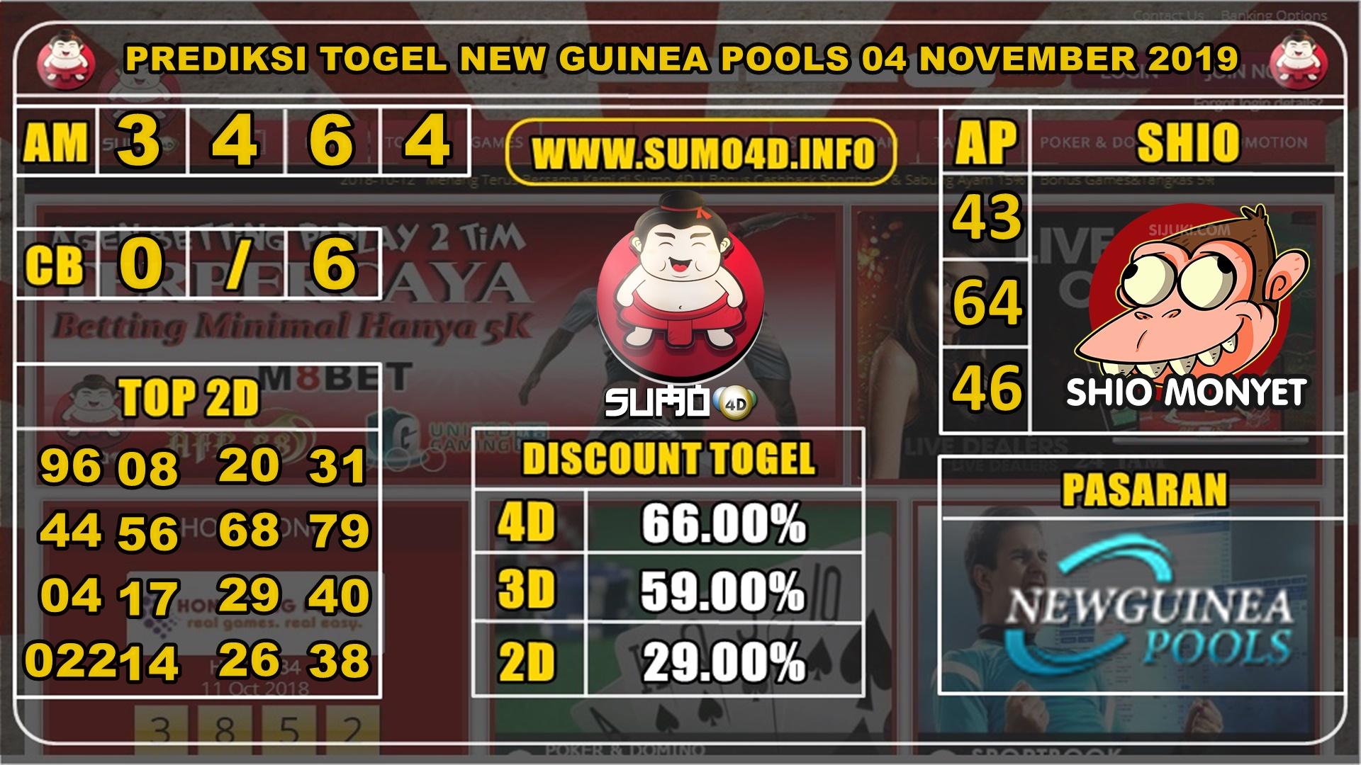 PREDIKSI TOGEL NEW GUINEA POOLS 04 NOVEMBER 2019