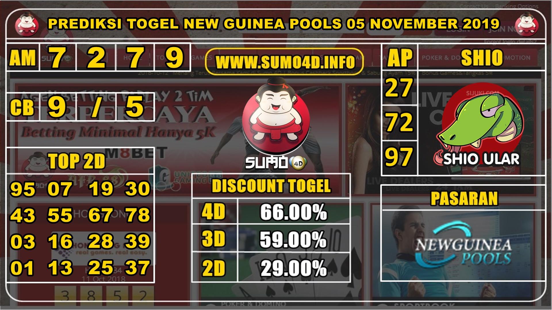 PREDIKSI TOGEL NEW GUINEA POOLS 05 NOVEMBER 2019