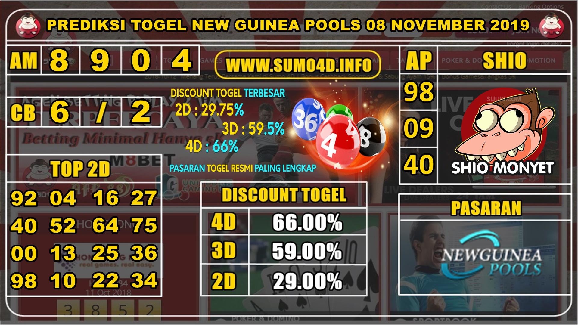 PREDIKSI TOGEL NEW GUINEA POOLS 08 NOVEMBER 2019