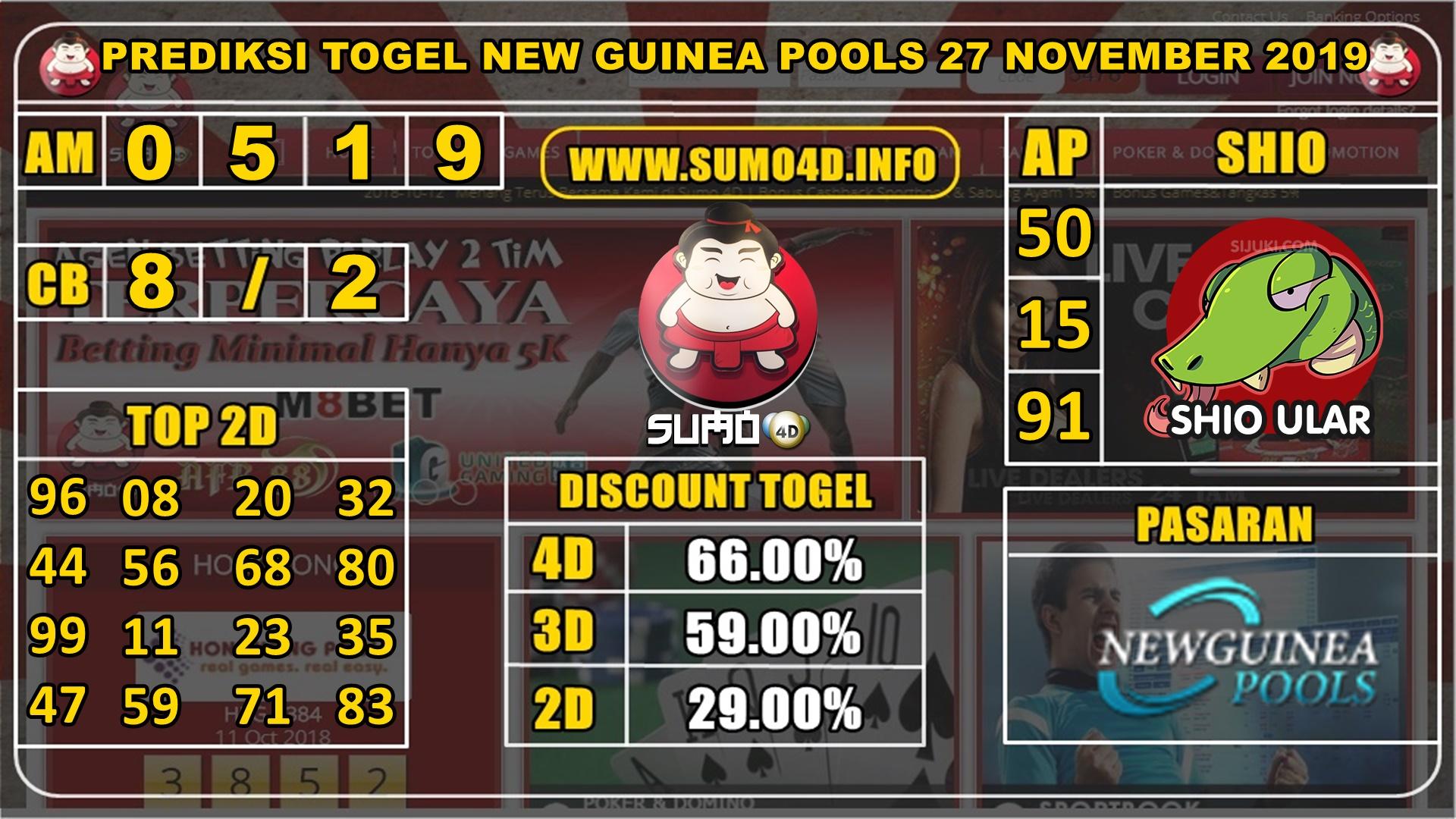 PREDIKSI TOGEL NEW GUINEA POOLS 27 NOVEMBER 2019