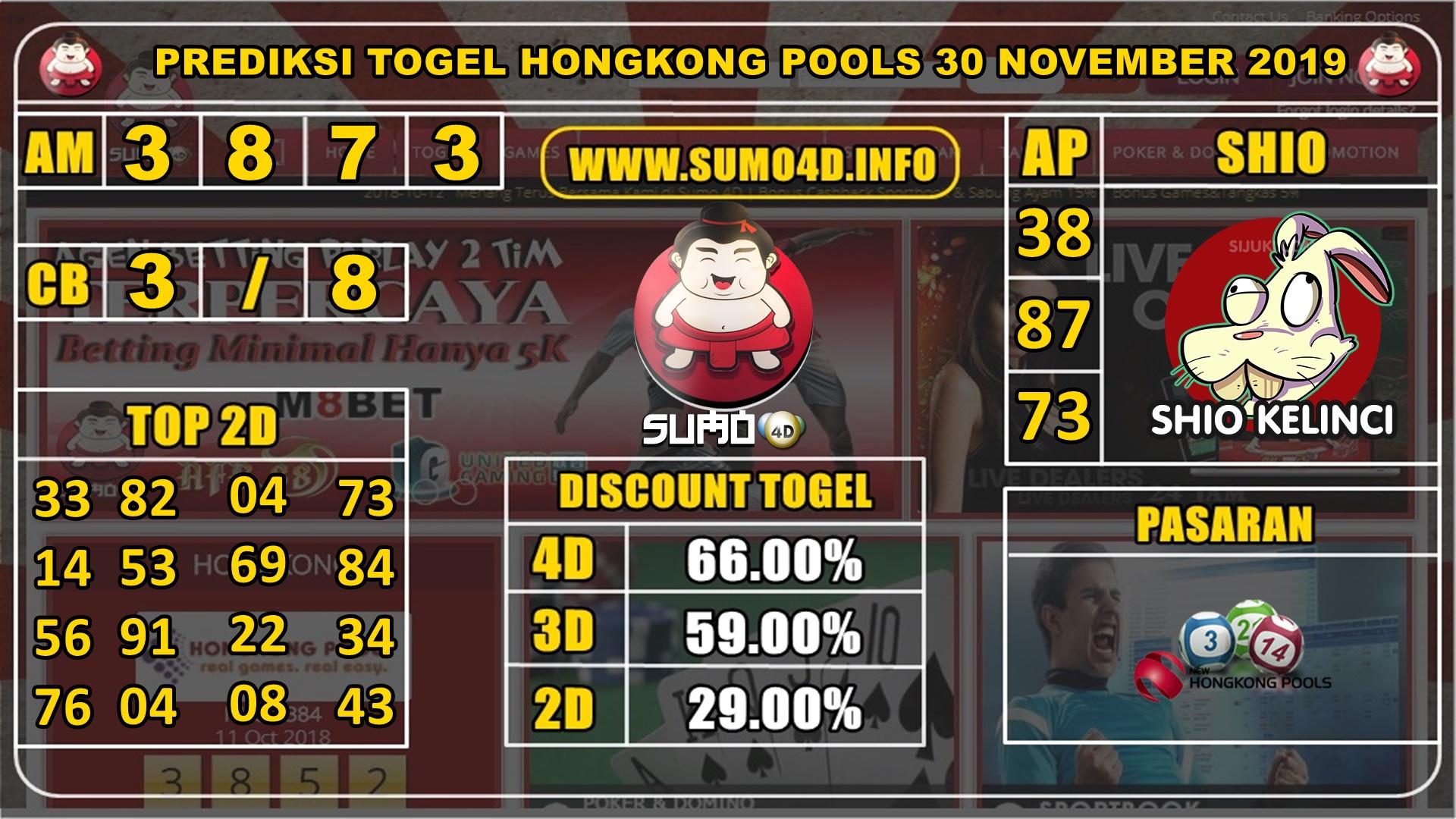 PREDIKSI TOGEL HONGKONG POOLS 30 NOVEMBER 2019