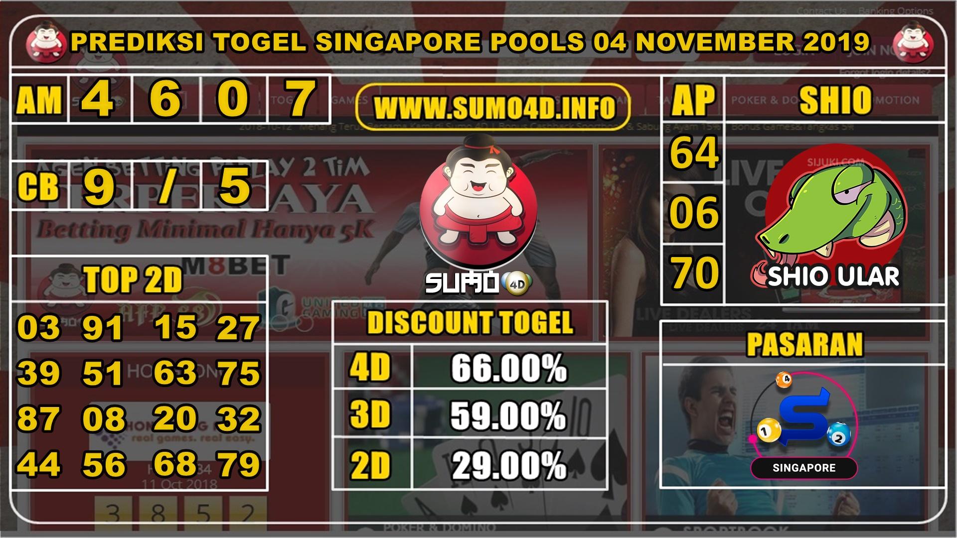 PREDIKSI TOGEL SINGAPORE POOLS 04 NOVEMBER 2019