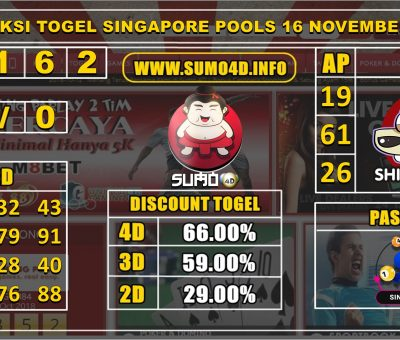 PREDIKSI TOGEL SINGAPORE POOLS 16 NOVEMBER 2019