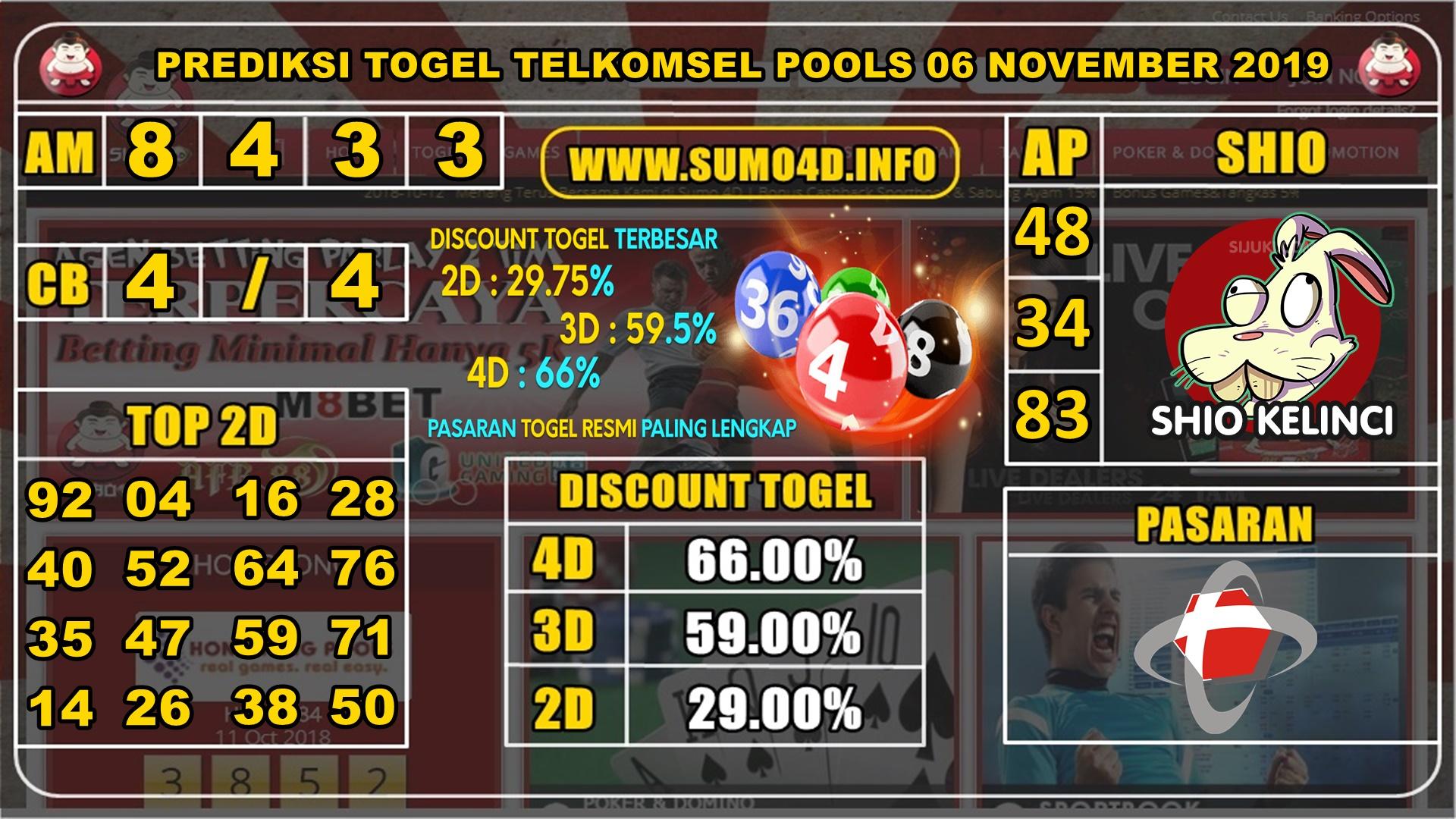 PREDIKSI TOGEL TELKOMSEL POOLS 06 NOVEMBER 2019