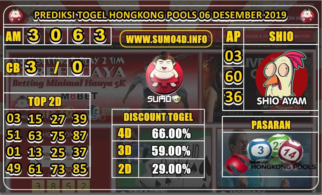 PREDIKSI TOGEL HONGKONG POOLS 06 DESEMBER 2019