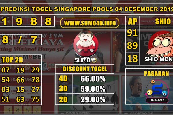 PREDIKSI TOGEL SINGAPORE POOLS 04 DESEMBER 2019