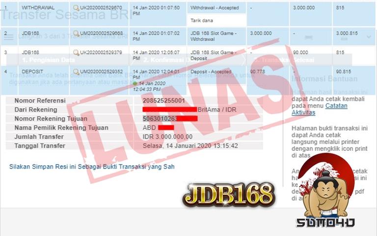 BUKTI PEMBAYARAN JACKPOT Rp 3.000.000 MEMBER SUMO4D