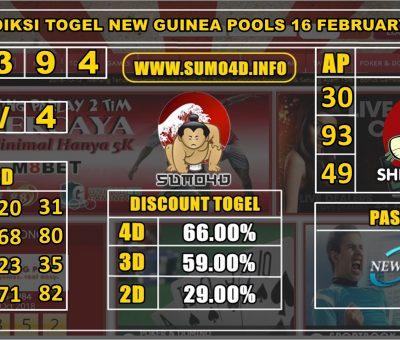 PREDIKSI TOGEL NEW GUINEA POOLS 16 FEBRUARY 2020