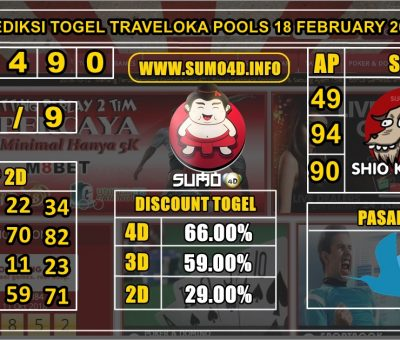 PREDIKSI TOGEL TRAVELOKA POOLS 18 FEBRUARY 2020