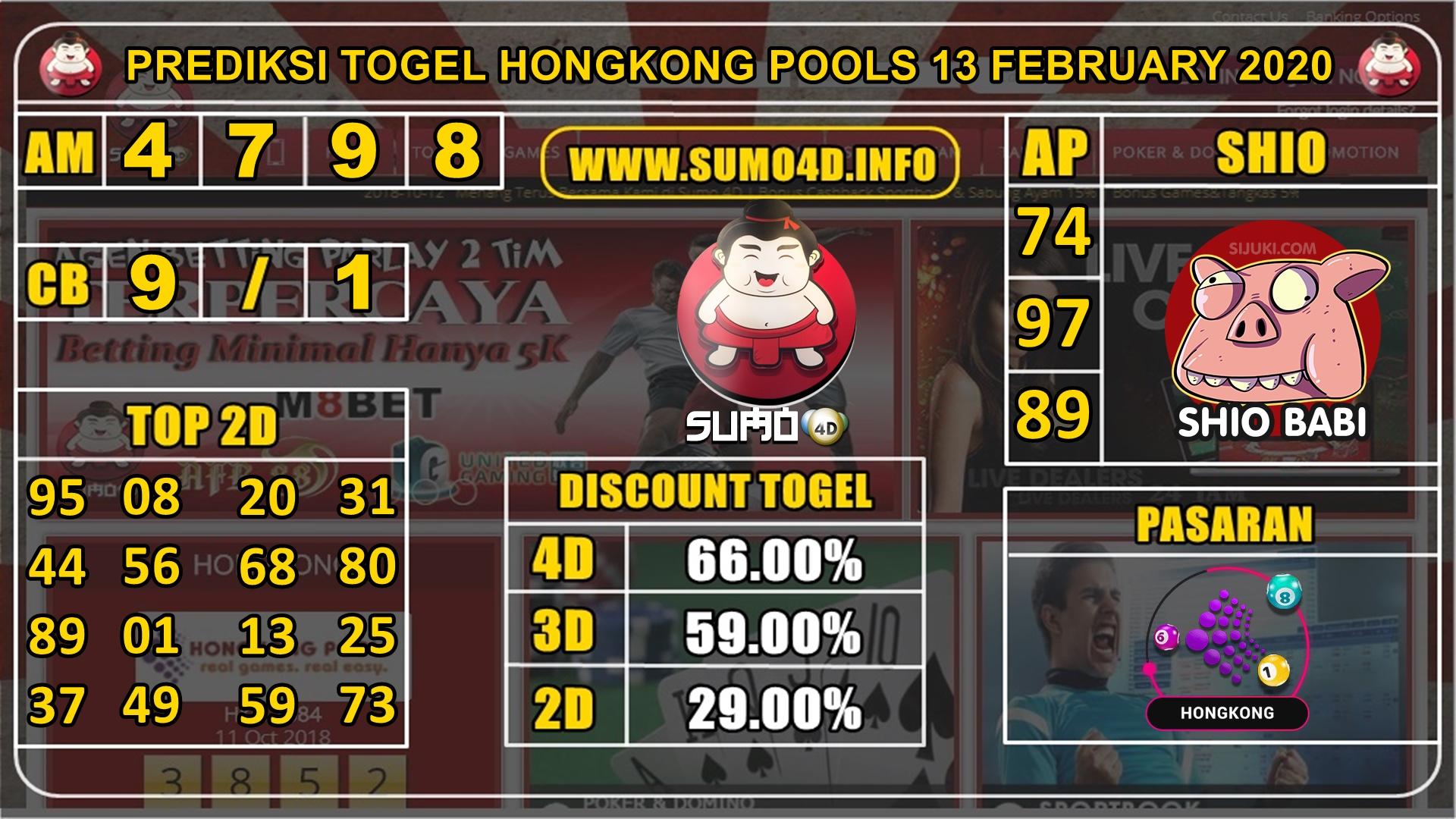 PREDIKSI TOGEL HONGKONG POOLS 13 FEBRUARY 2020