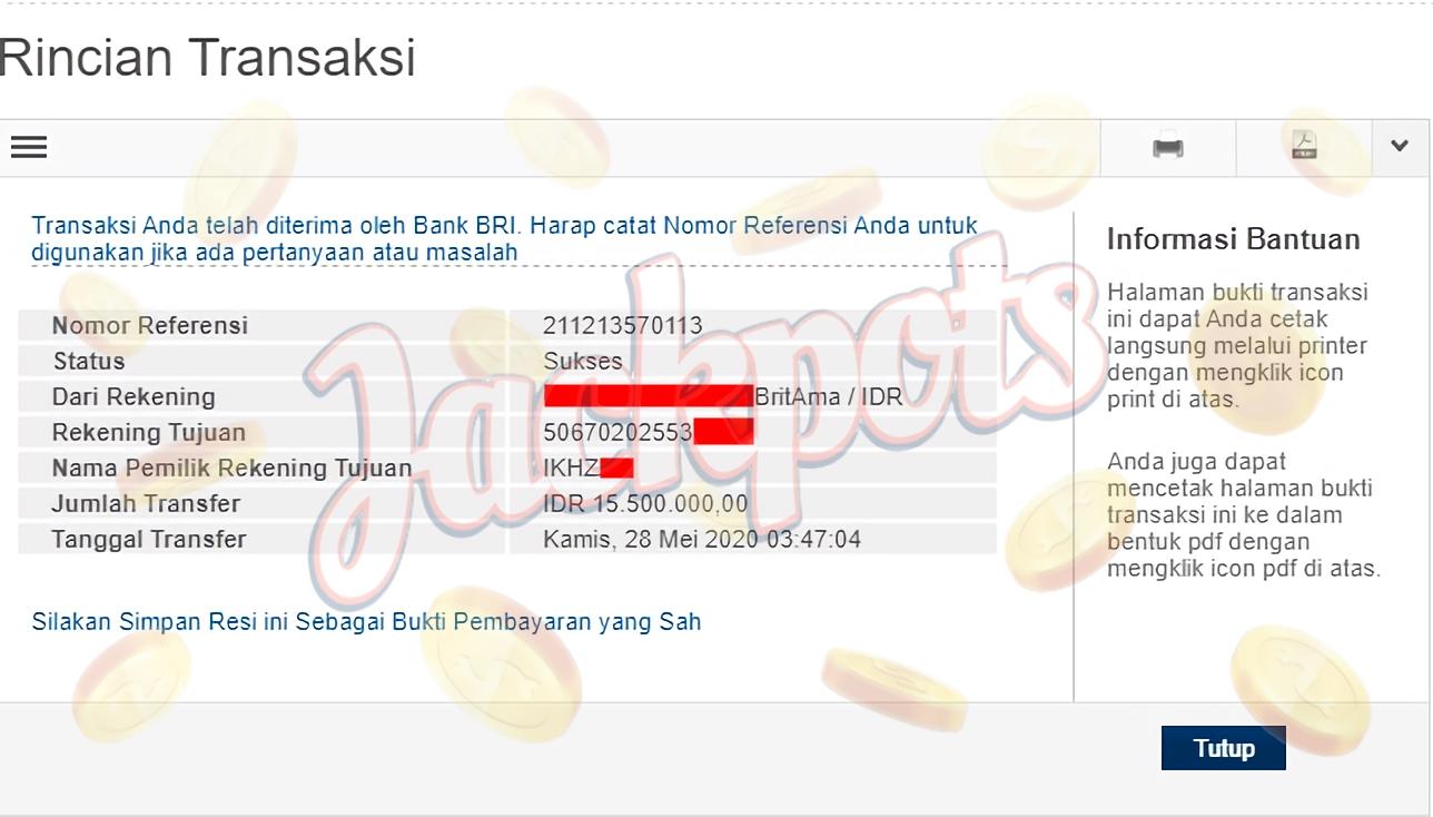 BUKTI PEMBAYARAN JACKPOT Rp 15.500.000 MEMBER SUMO4D